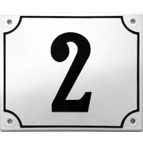 Emaille wit huisnummerbord met zwarte cijfers, 150x180 mm