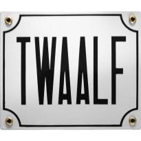 Emaille wit huisnummerbord 'TWAALF' met zwarte letters, 150x180 mm