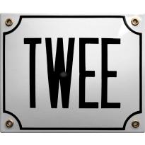 Emaille wit huisnummerbord 'TWEE' met zwarte letters, 150x180 mm