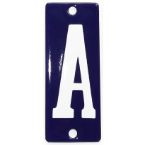 Emaille witte letter 'A' kobalt blauw, 100x40 mm