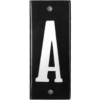 Emaille witte letter 'A' zwart, 100x40 mm