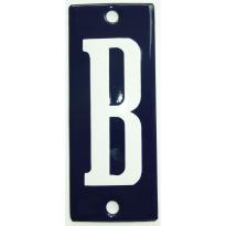 Emaille witte letter 'B' kobalt blauw, 100x40 mm
