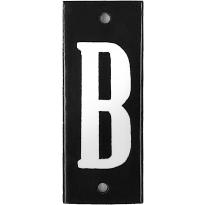 Emaille witte letter 'B' zwart, 100x40 mm
