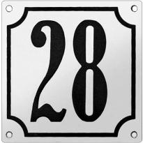 Gebolleerd huisnummer emaille wit/zwart met kader, klassieke cijfers, 150x150 mm