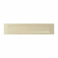 Hoppe 403 aluminium F2 - champagne rechthoekige briefplaat 73x338 mm, klep met veermechanisme