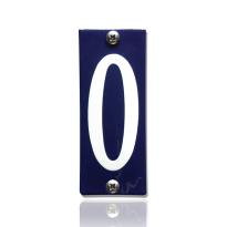 Huisnummer 0 emaille blauw, 40 x 100 mm