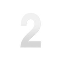 Huisnummer 2 XL wit, 250 mm