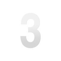 Huisnummer 3 XL wit, 250 mm