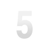 Huisnummer 5 XL wit, 250 mm