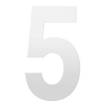 Huisnummer 5 XXL wit, 400 mm