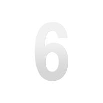 Huisnummer 6 XL wit, 250 mm