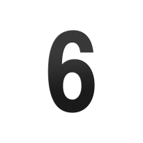 Huisnummer 6 XL zwart, 250 mm