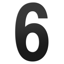 Huisnummer 6 XXL zwart, 400 mm