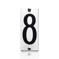Huisnummer 8 emaille wit, 40 x 100 mm