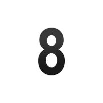 Huisnummer 8 L zwart, 200 mm