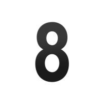 Huisnummer 8 XL zwart, 250 mm