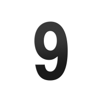 Huisnummer 9 XL zwart, 250 mm