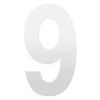 Huisnummer 9 XXL wit, 400 mm