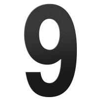 Huisnummer 9 XXL zwart, 400 mm
