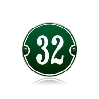 Huisnummer emaille groen, 100 mm