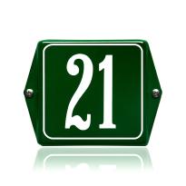 Huisnummer emaille groen, 120 x 120 mm