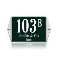 Huisnummer emaille met naam groen, 160 x 120 mm