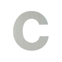 Huisnummer modern RVS letter 'C' plat, 117 mm