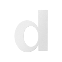 Huisnummer toevoeging letter 'D' wit, 110 mm