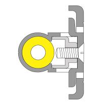 Ivana 3810A-N/HSP inbouw sluitlijst voor dubbele deuren, 2315 mm