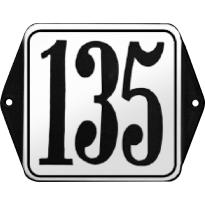 Klassiek huisnummer emaille wit/zwart met kader, klassieke cijfers, 120x120 mm