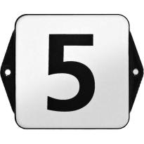 Klassiek huisnummer emaille wit/zwart zonder kader, blok cijfers, 100x100 mm