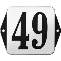Klassiek huisnummer emaille wit/zwart zonder kader, klassieke cijfers, 100x100 mm