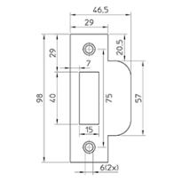 Mauer 430 F sluitplaat t.b.v. loopslot, rechthoekig RVS