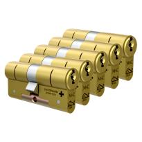 M&C Matrix antikerntrek dubbele veiligheidscilinder gelijksluitend per 5, messing