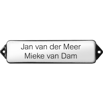 Naamplaat emaille wit, zonder kader, letters Arial, 80x30mm