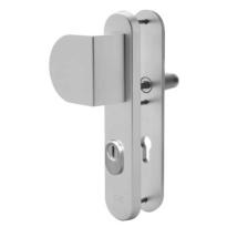 Nemef 3519 aluminium greep/kruk veiligheidsgarnituur voor buitendeuren met RVS kerntrekbeveiliging, PC55