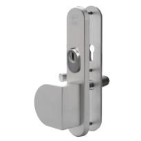 Nemef 3569 aluminium greep/kruk senioren veiligheidsgarnituur voor buitendeuren met RVS kerntrekbeveiliging, PC72