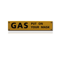 NH-103 emaille veiligheidsbord 'Gas put on your mask'