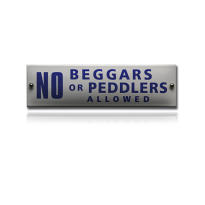 NH-95 emaille naambord 'No beggars or peddlers allowed'