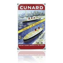 NO-51-CU emaille reclamebord 'Cunard fastest'