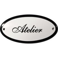 Ovaal deurbordje 'Atelier', emaille