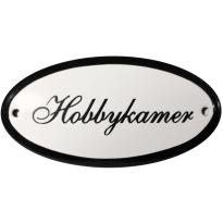 Ovaal deurbordje 'Hobbykamer', emaille
