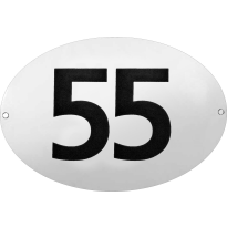 Ovaal huisnummer emaille wit/zwart zonder kader, blok cijfers, 160x110 mm