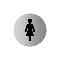 Pictogram 'Damestoilet' RVS rond