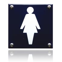 Pictogram emaille 'Damestoilet' vrouw vierkant 100x100mm