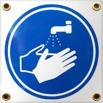 Pictogram vierkant 'Handen wassen', emaille