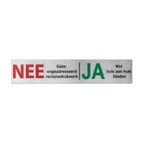RVS brievenbusbordje 'Nee/Ja' rechthoekig