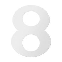 RVS huisnummer 8, wit
