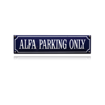 SS-03 emaille straatnaambord 'Alfa parking only'
