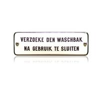 TR-18 emaille trein en tram bord 'Verzoeke den waschbak na gebruik'